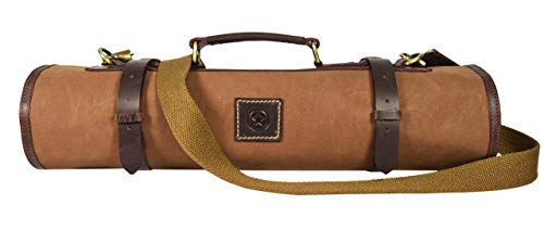 Leather Knife Roll Storage Bag, Elastic and Expandable 10 Pockets, Adjustable/Detachable Shoulder Strap, Travel-Friendly Chef Knife Case Roll By Aaron Leather (Peanut, Canvas)