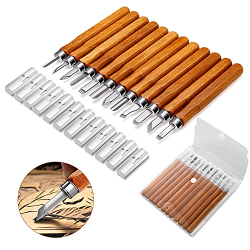 Gimars Upgrade 12 Set SK5 Carbon Steel Wood Carving Tools Knife Kit - Kids & Beginners with Reusable pouch
