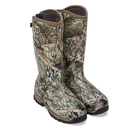 TIDEWE Rubber Hunting Boots with 800g Insulation, Waterproof Insulated Mossy Oak Country Camo Warm Rubber Boots with 6mm Neoprene, Durable Outdoor Muck Hunting Boots for Men (Size 5)