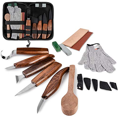Wood Carving Tools Set, Hook Carving Knife, Detail Wood Knife, Whittling Knife, Oblique Knife, Trimming Knife for Spoon Bowl Cup Pumpkin Woodwork, Chip Carving Knife Kit with Zipper Bag for Beginners